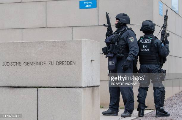 Policemen secure the synagogue in Dresden eastern Germany in a security meassure following a shooting in Halle an der Saale eastern Germany on...