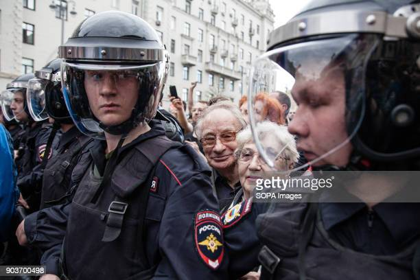 Policemen seen lined up to try to maintain order at the protest Anticorruption protest organised by opposition leader Alexei Navalny at Tverskaya...
