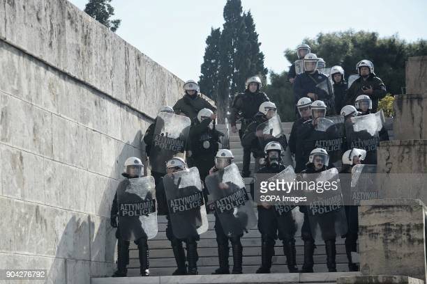 Policemen seen outside the Greek Parliament during the demonstration against the voting of the new Multibill of the third evaluation