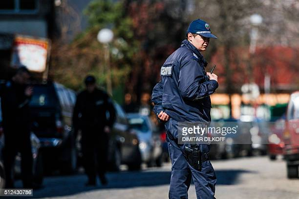 A policemen stands guard near the compound of the Palestinian embassy in Sofia on February 26 2016 A Palestinian activist wanted by Israel over the...