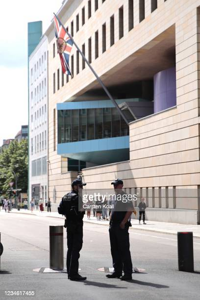 Policemen stands outside the British Embassy on August 11, 2021 in Berlin, Germany. German law enforcement authorities announced today that they have...