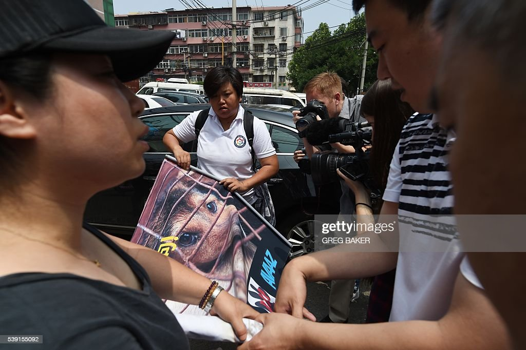 Policemen (R) stop animal activists from displaying a protest banner outside the Yulin government office in Beijing on June 10, 2016. A group of Chinese and international animal activists presented a petition signed by 11 million people calling on authorities to end the annual Yulin dog meat festival. The activists claim thousands of dogs, many of the them stolen from pet owners, are slaughtered each year for the festival, which begins in the southern city of Yulin on June 21. / AFP / GREG