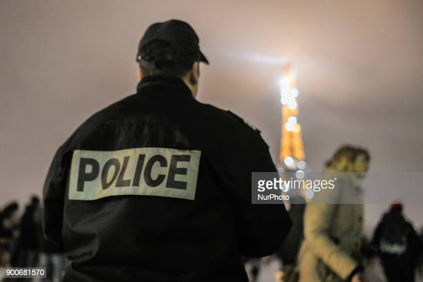Policemen's wifes protest at the Effeil Tower of Paris France on January 2 2018 to denounce the assault of the two policemen in Champigny sur marne...