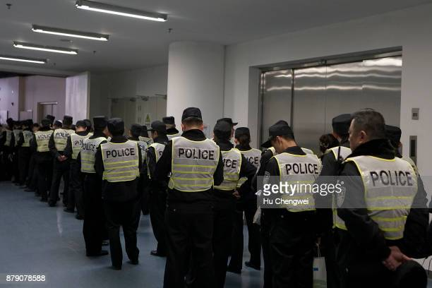 Polices prepare before the UFC Fight Night at MercedesBenz Arena on November 25 2017 in Shanghai China
