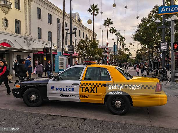Police-Taxi car parked in Santa Monica downtown, USA