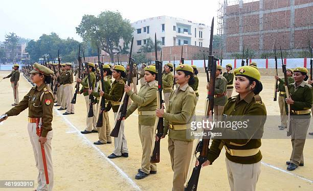 Policewomen rehearse ahead of Republic Day at Police lines
