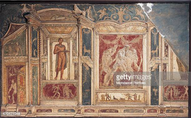 Polichrome Stucco by unknown artist 6279 1st Century AD ripped fresco 285 x 159 cm Italy Campania Naples National Archaeological Museum Room LXXII...