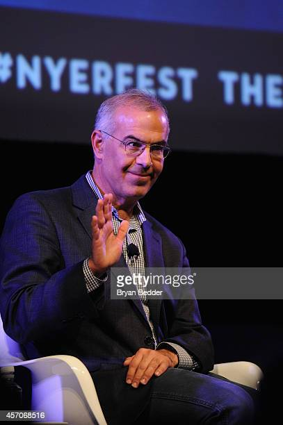 Policital commentator David Brooks speaks on stage at Income Inequality with David Brooks Jacob Hacker and Nelini Stamp Moderated by George Packer at...