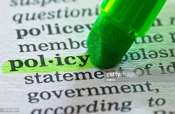 policy definition highlighted in dictionary - strategy stock pictures, royalty-free photos & images
