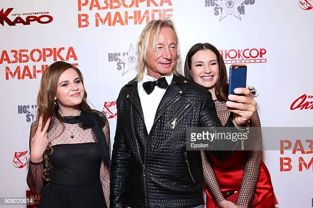 Polina Butorina Matthias Hues and Natalya Gubina attend 'Showdown in Manila' premiere in October cinema hall on February 9 2016 in Moscow Russia