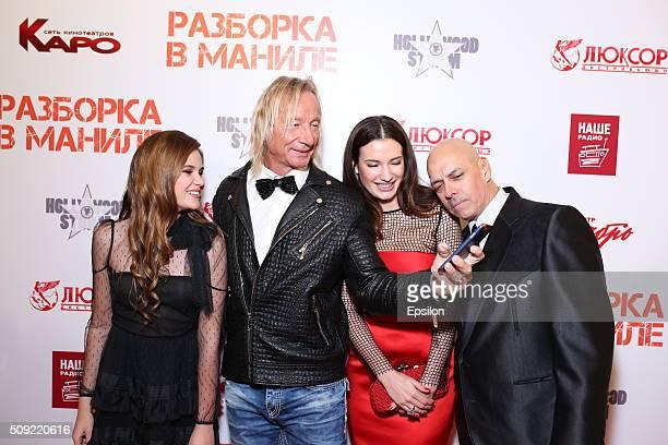 Polina Butorina Matthias Hues Natalya Gubina and Robert Madrid attend 'Showdown in Manila' premiere in October cinema hall on February 9 2016 in...