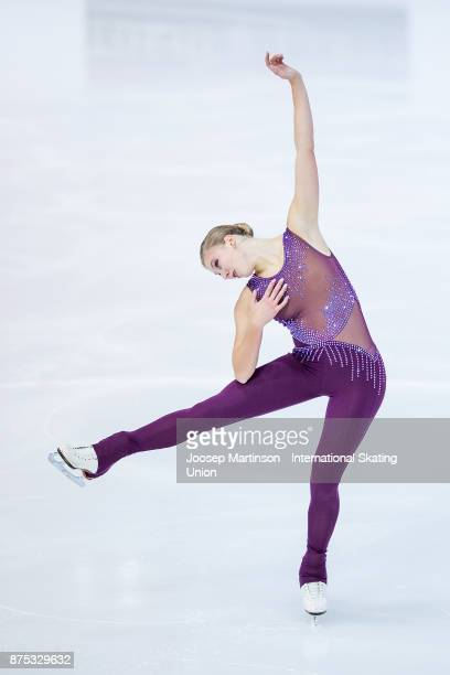 Polina Edmunds of the United States competes in the Ladies Short Program during day one of the ISU Grand Prix of Figure Skating at Polesud Ice...
