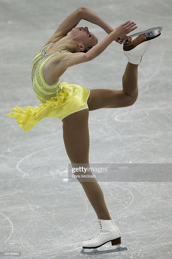 Polina Edmunds of the USA competes in the Junior Ladies Short Program during day one of the ISU Grand Prix of Figure Skating Final 2013/2014 at Marine Messe Fukuoka on December 5, 2013 in Fukuoka, Japan.