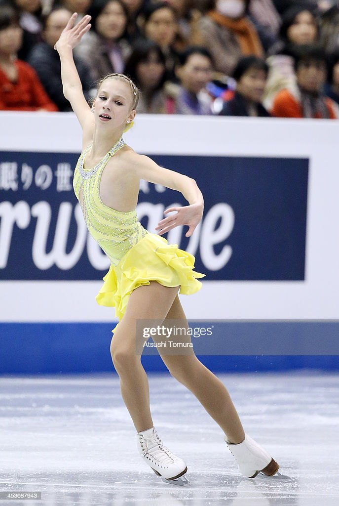 Polina Edmunds of USA competes in the Junior ladies's short program during day one of the ISU Grand Prix of Figure Skating Final 2013/2014 at Marine Messe Fukuoka on December 5, 2013 in Fukuoka, Japan.