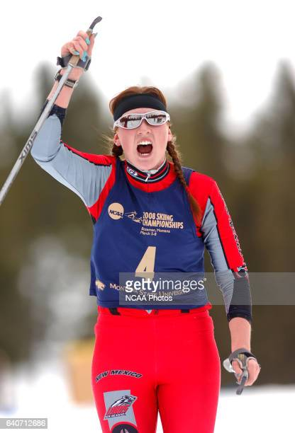 Polina Ermoshina of the University of New Mexico celebrates her second place finish during the Women's 15k classic as part of the Men's and Women's...