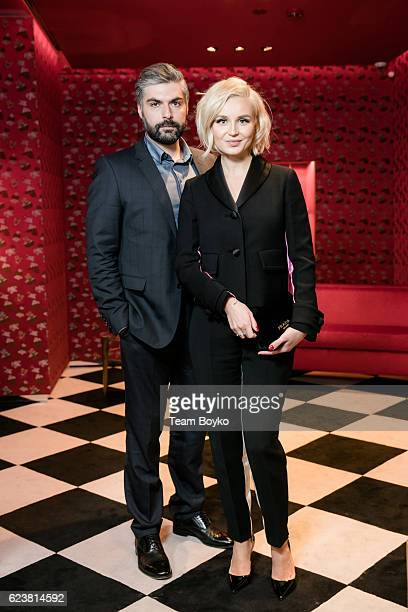 Polina Gagarina and Dmitry Iskhakov attend the screening of 'Past Forward' a movie by David O Russell presented by Prada on November 16 2016 in...
