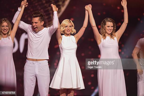 Polina Gagarina of Russia arrives on stage during the final of the Eurovision Song Contest 2015 on May 23 2015 in Vienna Austria The final of the...