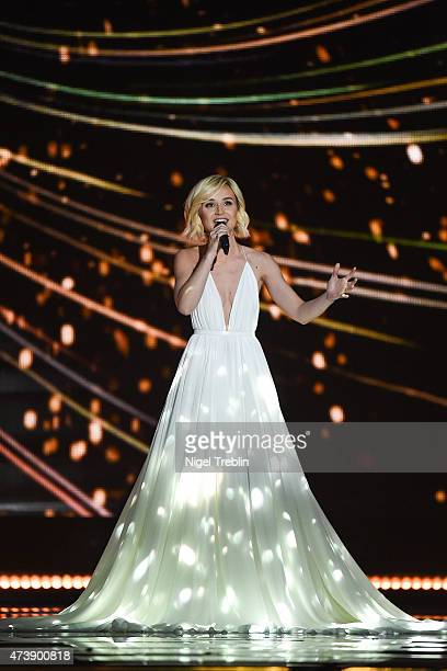 Polina Gagarina of Russia peforms during a rehearsal of the first Semin Final on May 18 2015 in Vienna Austria The final of the Eurovision Song...