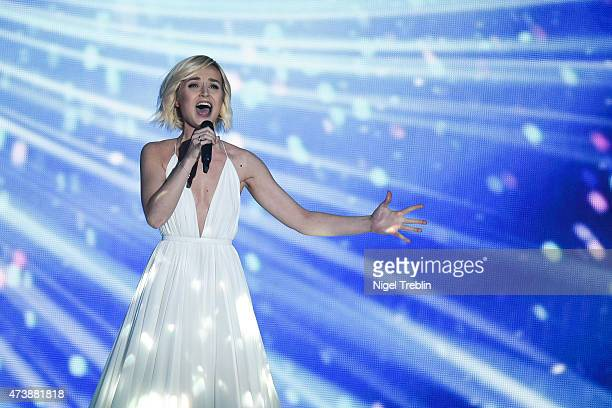Polina Gagarina of Russia performs during a rehearsal of the first Semin Final on May 18 2015 in Vienna Austria The final of the Eurovision Song...