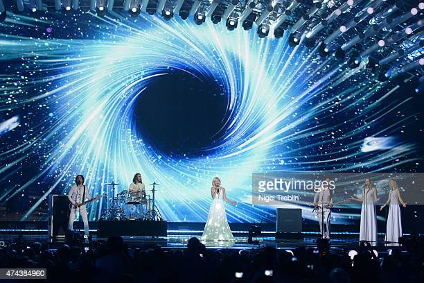 Polina Gagarina of Russia performs on stage during rehearsals for the final of the Eurovision Song Contest 2015 on May 22 2015 in Vienna Austria The...