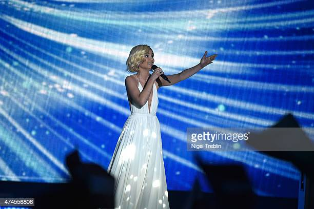 Polina Gagarina of Russia performs on stage during the final of the Eurovision Song Contest 2015 on May 23 2015 in Vienna Austria The final of the...