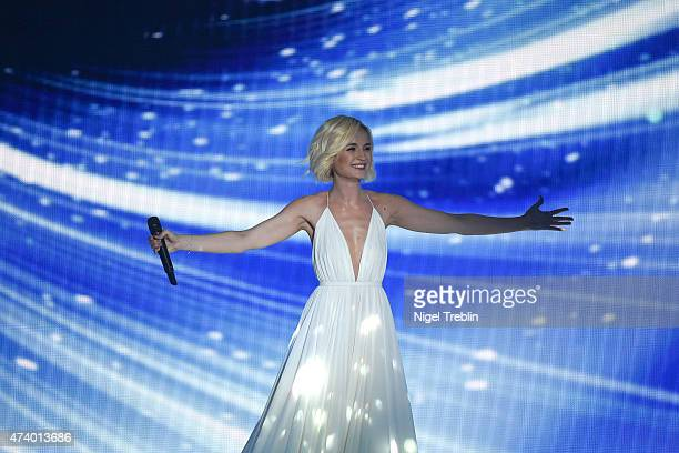 Polina Gagarina of Russia performs on stage during the first Semi Final of the Eurovision Song Contest 2015 on May 19 2015 in Vienna Austria The...