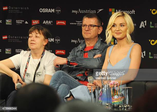 Polina Gagarina who will represent Russia at '2015 Eurovision Festival' poses during a press meet and greet ahead of the Eurovision Song Contest 2015...
