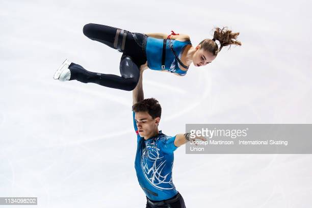 Polina Kostiukovich and Dmitrii Ialin of Russia compete in the Junior Pairs Short Program during day 1 of the ISU World Junior Figure Skating...