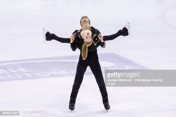 Polina Kostiukovich and Dmitrii Ialin of Russia compete in the Pairs Free Skating during day two of the ISU Junior Grand Prix of Figure Skating at...