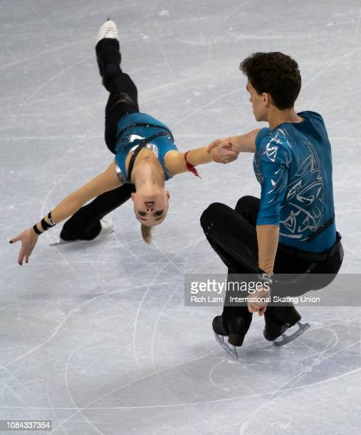Polina Kostiukovich and Dmitrii Ialin of Russia compete in the Short Program of the Junior Pairs competition at the ISU Junior and Senior Grand Prix...