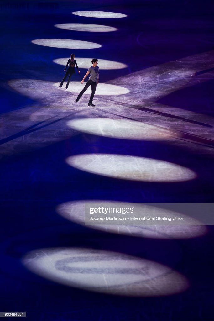 Polina Kostiukovich and Dmitrii Ialin of Russia perform in the Gala Exhibition during the World Junior Figure Skating Championships at Arena Armeec on March 11, 2018 in Sofia, Bulgaria.