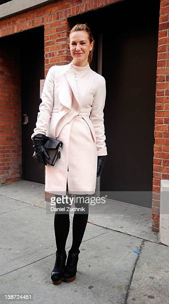 Polina Proshkina from Russian Harpers Bazaar is seen outside the Yigal Azrouel show on February 10 2012 in New York City