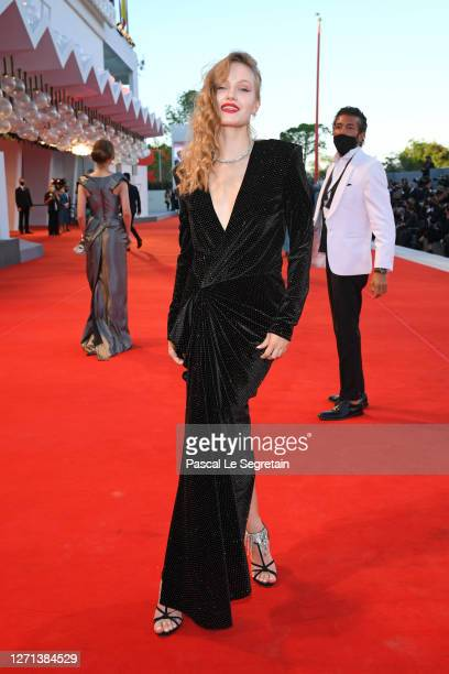 "Polina Pushkareva walks the red carpet ahead of the movie ""Notturno"" at the 77th Venice Film Festival on September 08, 2020 in Venice, Italy."