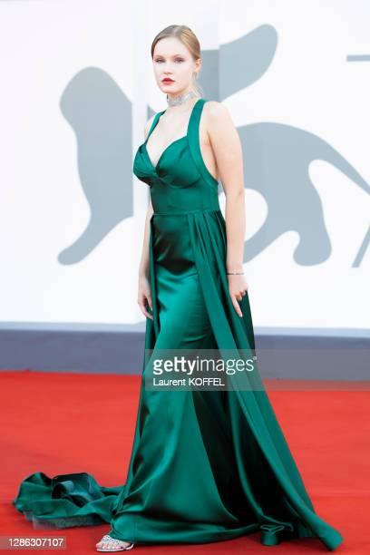 "Polina Pushkareva walks the red carpet ahead of the movie ""Padrenostro"" at the 77th Venice Film Festival at on September 04, 2020 in Venice, Italy."