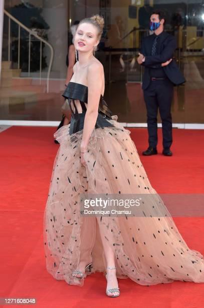 Polina Pushkareva walks the red carpet ahead of the movie Sniegu Juz Nigdy Nie Bedzie at the 77th Venice Film Festival on September 07 2020 in Venice...