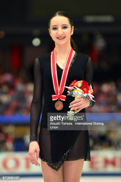 Polina Tsurskaya of Russia poses with her bronze medal during the ISU Grand Prix of Figure Skating at on November 11 2017 in Osaka Japan