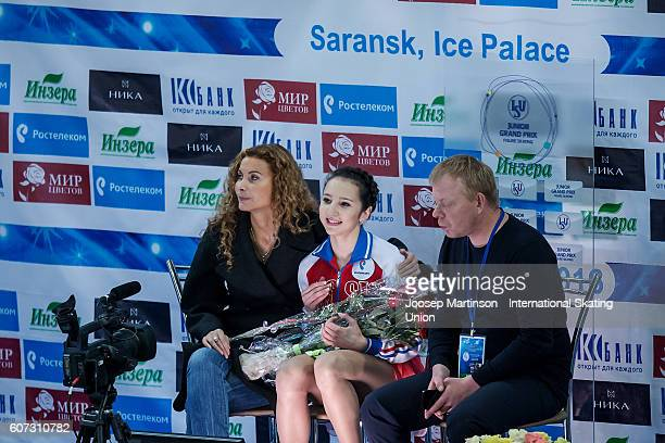 Polina Tsurskaya of Russia reacts at the kiss and cry after winning the Junior Ladies Free Skating on day three of the ISU Junior Grand Prix of...