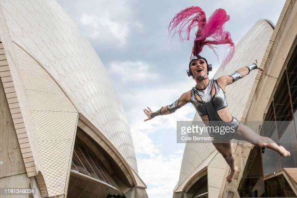 Poline jumps in front of the sails during a media preview of Cirque Stratosphere at Sydney Opera House on December 02 2019 in Sydney Australia
