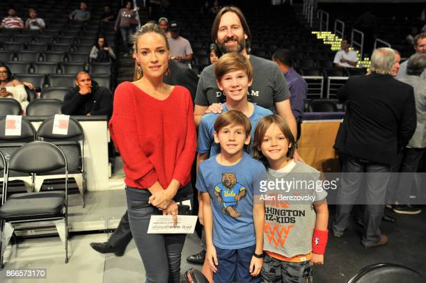 Polish actress Alicja BachledaCurus and guests attend a basketball game between the Los Angeles Lakers and the Washington Wizards at Staples Center...