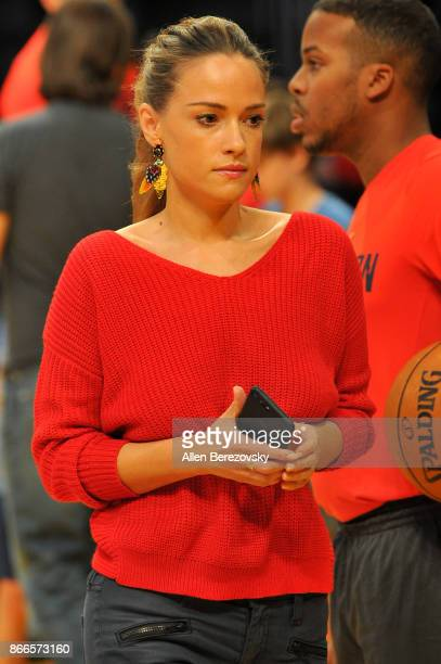 Polish actress Alicja BachledaCurus attends a basketball game between the Los Angeles Lakers and the Washington Wizards at Staples Center on October...