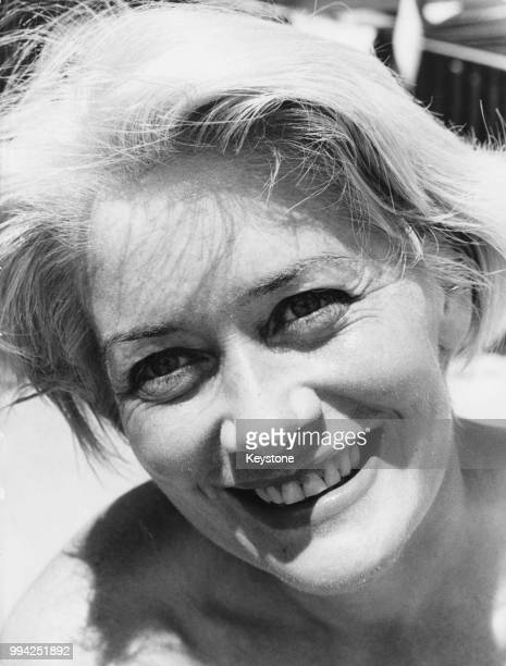 Polish actress Alina Janowska on the beach in Venice Italy during the Venice International Film Festival 23rd August 1961 She is starring in the film...