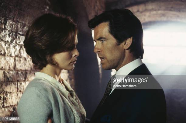 Polish actress Izabella Scorupco films a scene with Irish actor Pierce Brosnan for the James Bond film 'GoldenEye' 1995