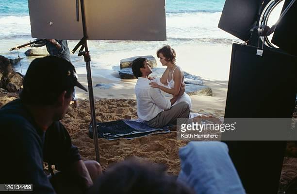 Polish actress Izabella Scorupco films a scene with Irish actor Pierce Brosnan on location on Laguna Tortuguero Beach Puerto Rico for the James Bond...