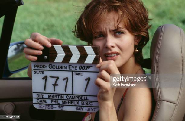 Polish actress Izabella Scorupco prepares to film a scene for the James Bond film 'GoldenEye' 2nd February 1995 The film was directed by Martin...