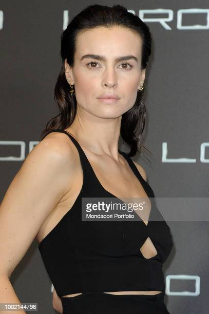 Polish actress Kasia Smutniak , wearing Armani pant suit, at Loro 2 photocall at The Space Moderno Cinema. Rome, May 2nd 2018
