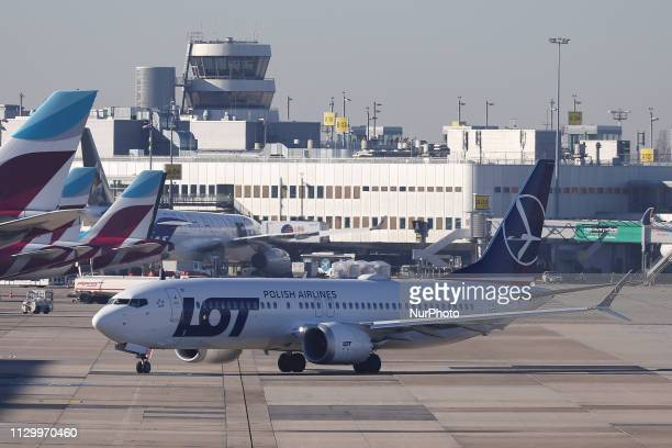 LOT Polish Airlines Boeing 737 MAX8 taxiing for take off in Dusseldorf Airport DUS EDDL in Germany the airline operates this new and modern aircraft...