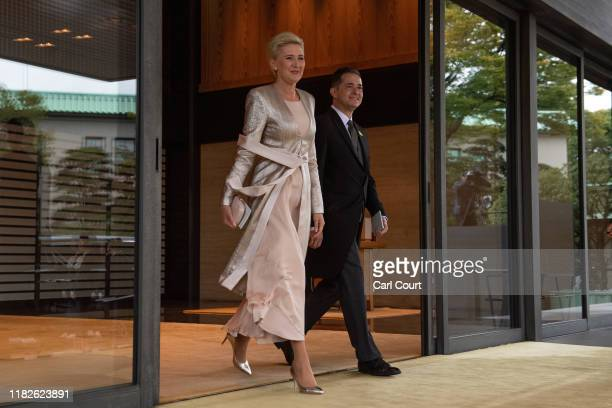 Polish ambassador to Japan, Pawel Milewski, and Agata Kornhauser-Duda, leave after attending the Enthronement Ceremony Of Emperor Naruhito of Japan...