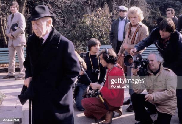 Polish American classical pianist Artur Rubinstein and French film director Francois Reichenbach in Lazienki Park Warsaw Poland 1979