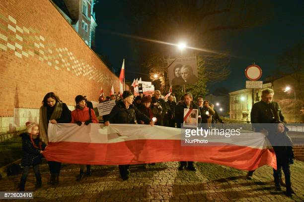 Polish and Hungarian during the 90th monthly anniversary of Smolesk's catastrophe outside Wawel Castle in Krakow President Lech Kaczynski and his...