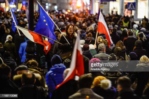 Polish and International judges are seen as they take part in a silence march against the rulling Law and Justice party judicial reforms in Warsaw,...